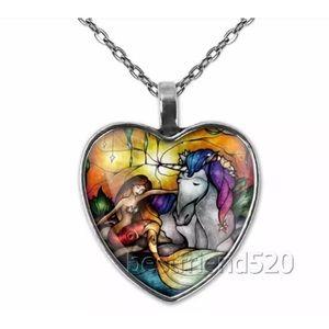 Unicorn and Mermaid Glass Heart Pendant Necklace